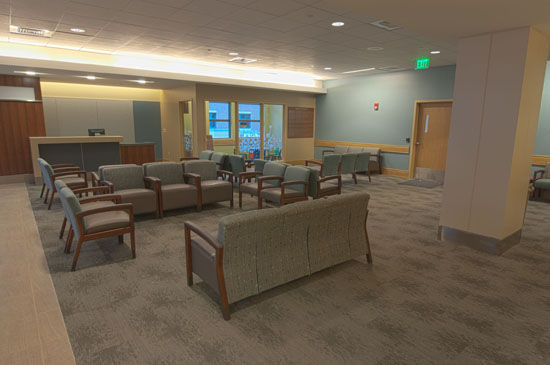 HVCC patient areas, the HVCC waiting area is a quiet, naturally lit room overlooking the D'Amour Family Healing Garden.