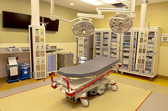 Three state-of-the-art trauma rooms are located near the ambulance entrance, equipped for any immediately life-threatening situation.