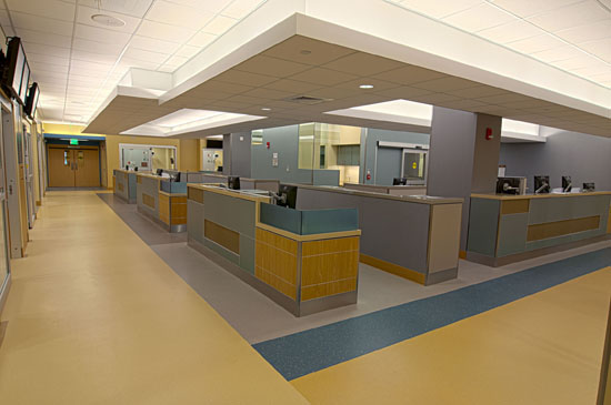 There are three Adult Acute Care areas, with a total of 65 private patient rooms, electronic tracking and a central core area consisting of a med room, lab room, and nourishment area.